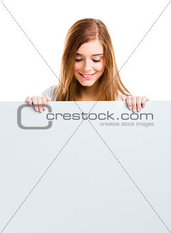 Woman with a big blank board
