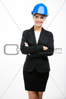 Beautiful and young female engineer