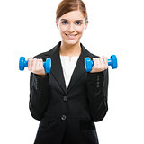 Business woman lifting weights