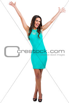 Happy woman with a sexy dress