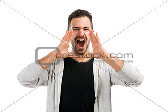 Man shouting through the hands