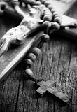 Wooden rosary beads and crucifix