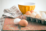 chicken eggs on table