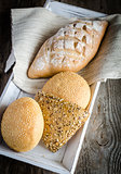 Whole wheat bread with sesame and flax-seed buns