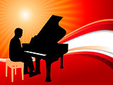 Piano Musician on Abstract Summer Background