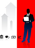 Businessman on Red and White Arrow Background