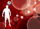 Soccer Player on Red Bubble Background