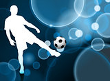 Soccer Player on Blue Bubble Background