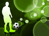 Soccer Player on Green Bubble Background