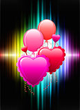 Balloon Hearts on Abstract Spectrum Background