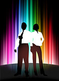 Business Couple on Abstract Spectrum Background