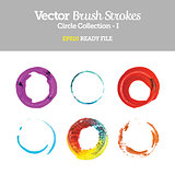 Vector Brush Strokes Circle Collection EPS10 Ready File