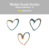Vector Brush Strokes Heart Shape Collection EPS10 Ready File