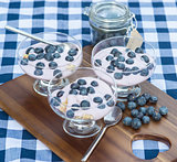 Vanilla yoghurt with fresh blueberries for breakfast