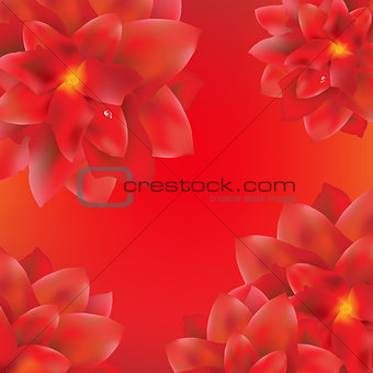 Card With Red Flowers Border