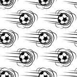 Speeding soccer ball seamless pattern