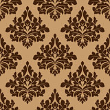 Damask seamless pattern in brown colors