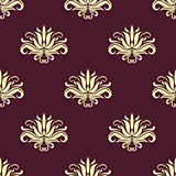 Dainty floral purple and beige seamless pattern