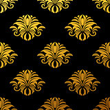 Golden floral seamless pattern