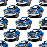 Seamless pattern of a retro blue car
