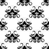 Black floral arabesque seamless pattern