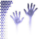 Halftone hands silhouette