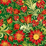 abstract vintage seamless red floral ornament on green