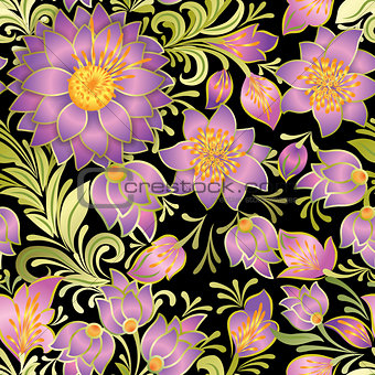 abstract vintage seamless floral ornament isolated on a black