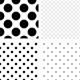 Polka dot seamless pattern set.