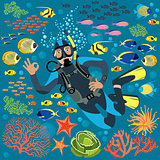 Diver With Underwater Plants And Fishes Set