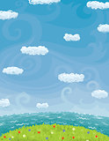 Summer Background With Cloudy Sky Sea And Lawn