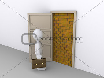 Blocked doorway and a businessman