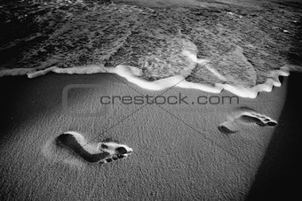 Footprints on beach black and white