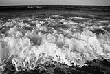 Waves and sea black and white