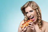 charming girl with hot-dog