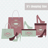 Shopping bags and fashion shoes in two colors - vector illustration.