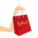 Red shopping bag in women's hand vector illustration.