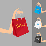 Red shopping bag in women's hand and three different colors vector illustration.