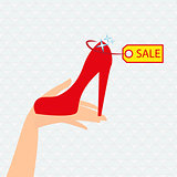 Red shoe presentation for sale - vector illustration