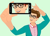 Vector illustration of guy taking a self snapshot.
