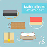 Women's fashion collection of bags on blue background - vector illustration.