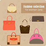 Women's fashion collection of bags on beige background - vector illustration.