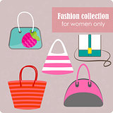 Women's fashion collection of bags on lilac background - vector illustration.