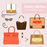 Women's fashion collection of bags and accessories on pink background - vector illustration.