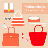Women's fashion collection of bags and accessories.