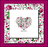 vector heart of roses flowers heart  card