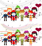 Group of kids singing singing children vector