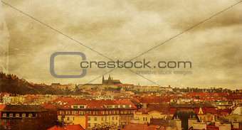 Prague panorama view from Vysehrad, photo stylized antique postc