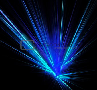 Abstract laser beams with glare sparks and stars blazed in the darkness as light