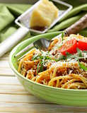 traditional pasta with tomato sauce spaghetti bolognese with parmesan